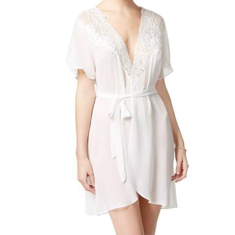 Linea Donatella Women's Sleepwear White Size XL Robes Floral Lace