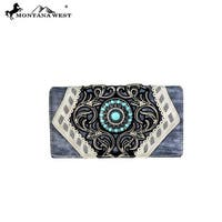 MW691-W010 Montana West Concho Collection Secretary Style Wallet-Black