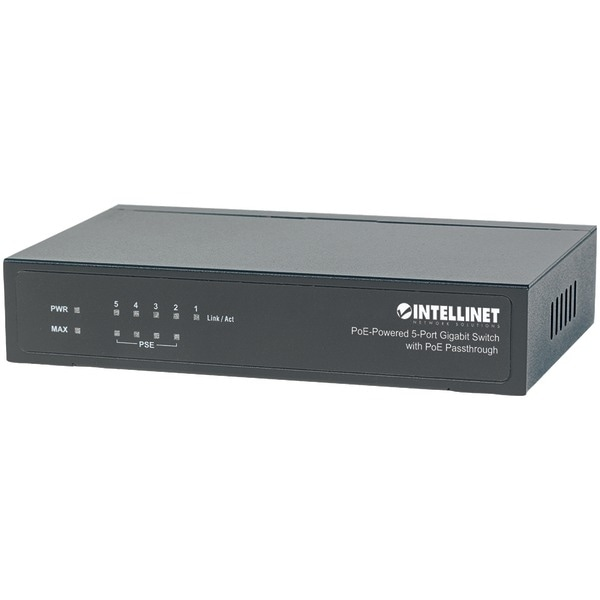 Intellinet 561082 Poe-Powered 5-Port Gigabit Switch With Poe Passthrough
