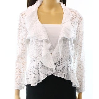 Connected Apparel NEW White Ruffled Women's Size Small S Lace Jacket