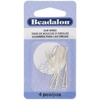 Beadalon - Pinch Bail Ear Wires - Large - Silver-Plated, 4/Pkg.