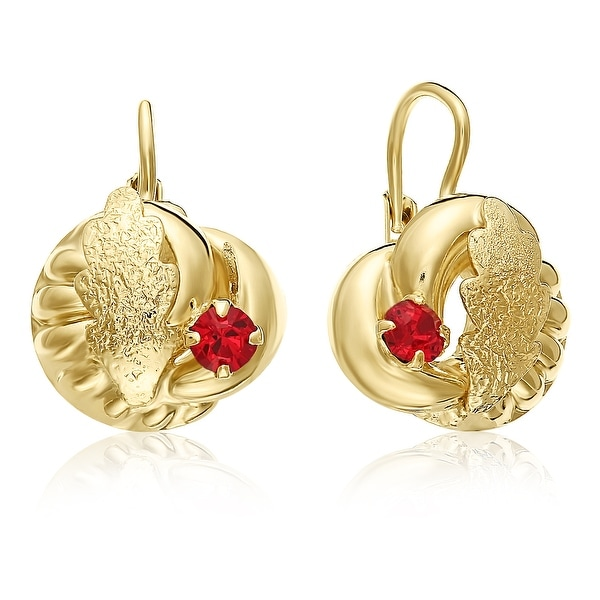 5e67a4352 Mcs Jewelry Inc 10 KARAT YELLOW GOLD STUD EARRINGS WITH LEAF DESIGN AND RED  STONE