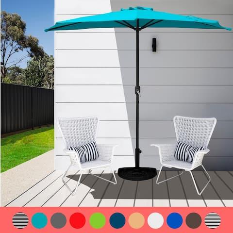 9' Sutton Half Round All-Weather Crank Patio Umbrella