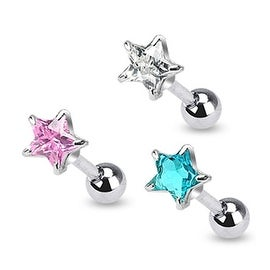 "Surgical Steel 5mm Star CZ Tragus/Cartilage Piercing Stud - 16GA 1/4"" Long (5mm Ball) (Sold Ind.)"