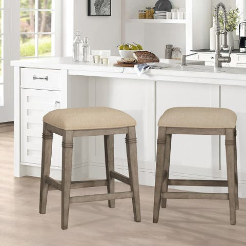 "The Gray Barn Chatterly Backless Non-swivel Counter Stool - 18.5""W x 15.75""L x 25.25""H"