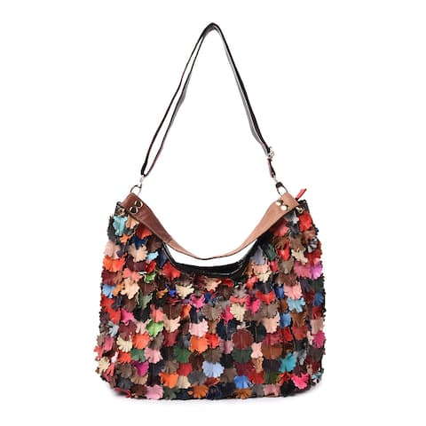 CHAOS BY ELSIE Blooming Garden Genuine Leather Convertible Tote Bag - 18x5.5x14 inches