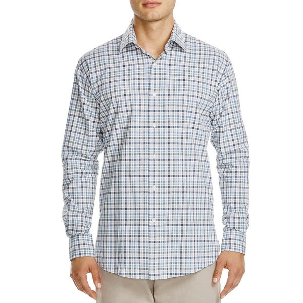 7b85a61010 Shop Bloomingdales Mens Regular Fit Egyptian Cotton Plaid Shirts Medium M  Grey Blue - Free Shipping On Orders Over $45 - Overstock - 23582055