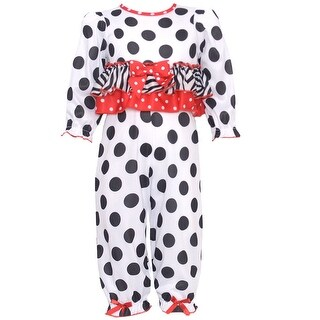 Laura Dare Baby Girls Black White Dot Zebra Stripe Bow 2 Pc Pajama Set 12M