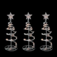 """Set of 3 Clear Lighted Outdoor Spiral Walkway Christmas Trees Outdoor Decorations 18"""" - WHITE"""