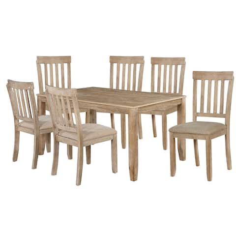 7 Piece Wooden Dining Set with Padded Seat Chairs, Brown