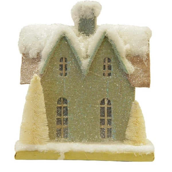 """9.25"""" Snow Covered House with White Trees Christmas Tabletop Decoration - brown"""