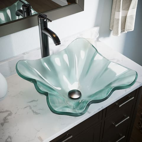611 Frosted Glass Sink, Antique Bronze Faucet, Sink Ring, Pop-up Drain
