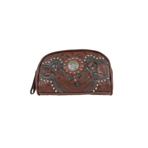 American West Western Cosmetic Case Womens Lady Lace Leather - 8 x 5 x 2.5