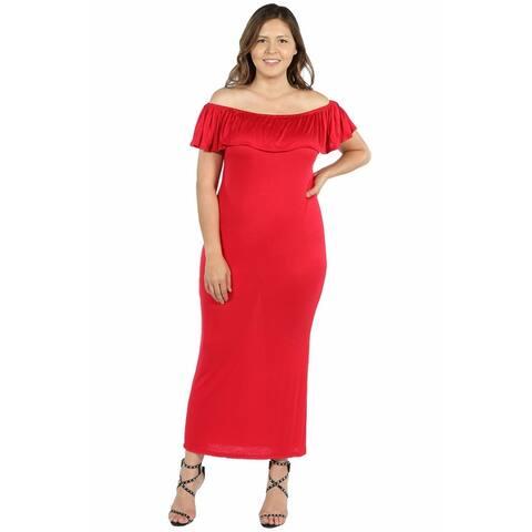 24seven Comfort Apparel Ruffle Off The Shoulder Plus Size Maxi Dress
