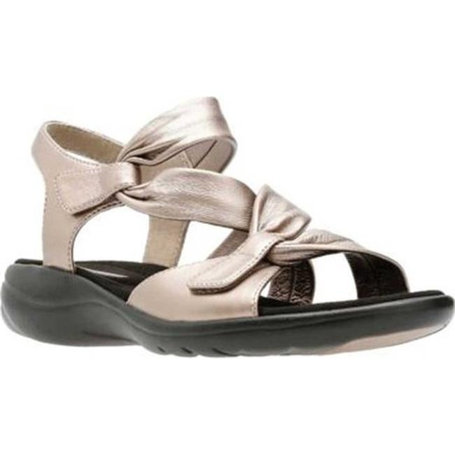 Clarks Women's Saylie Moon Strappy Sandal Pewter Metallic Full Grain Leather