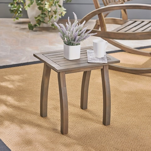 Lucca Outdoor Acacia Wood Side Table by Christopher Knight Home