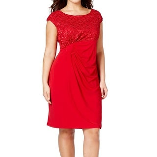 Connected Apparel NEW Red Women's Size 16W Plus Sheath Lace Dress