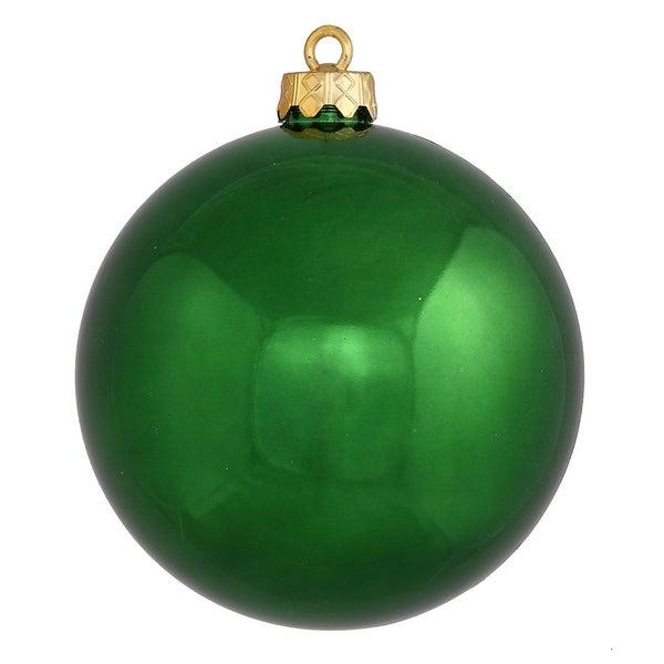 "Shiny Emerald Green Shatterproof Christmas Ornament 4"" (100mm)"