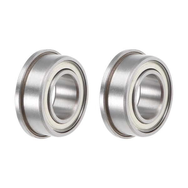 F63800ZZ Flange Ball Bearing 10x19x7mm Shielded Chrome Bearings 2pcs