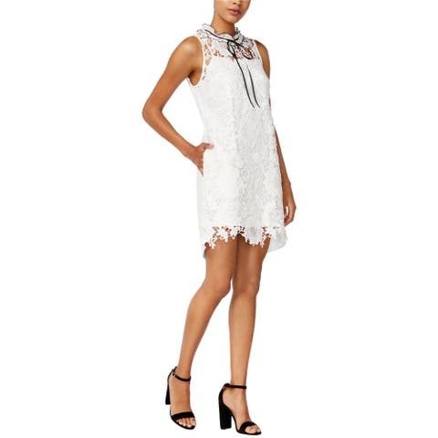 Kensie Womens High-Neck Lace Shift Dress
