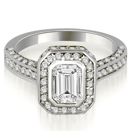 1.50 cttw. 14K White Gold Pave Emerald Cut Halo Engagement Diamond Ring
