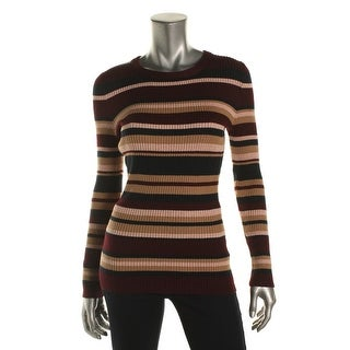 Hooked Up by IOT Womens Juniors Pullover Sweater Striped Ribbed Knit