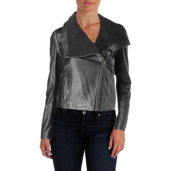 Yigal x AQUA Womens Moto Coat Fall Leather