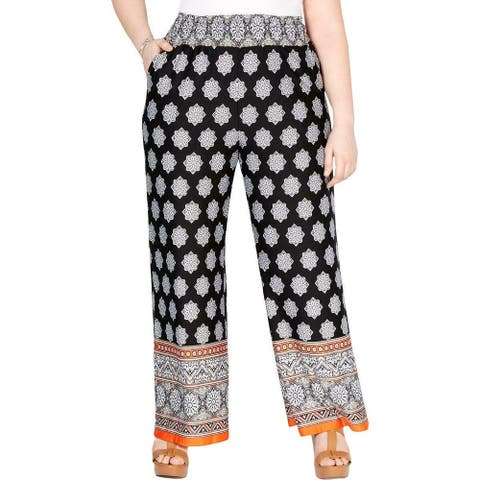 NY Collection Womens Pants Black Orange 2X Plus Wide Leg Smocked Waist