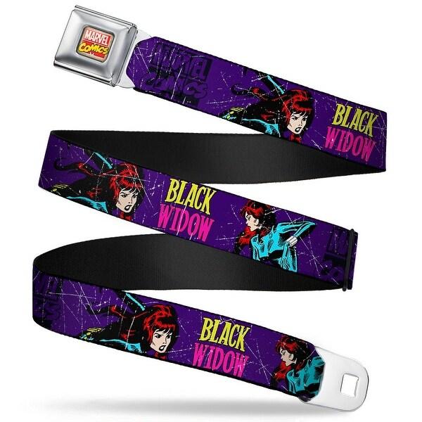 Marvel Comics Marvel Comics Logo Full Color Black Widow Poses Webs Purple Seatbelt Belt