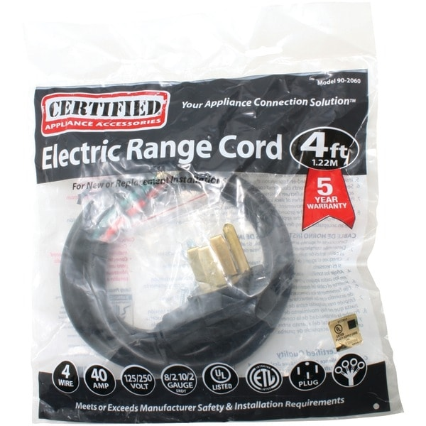 Certified Appliance 90-2060 4-Wire Range Cord, 40 Amps (4Ft)