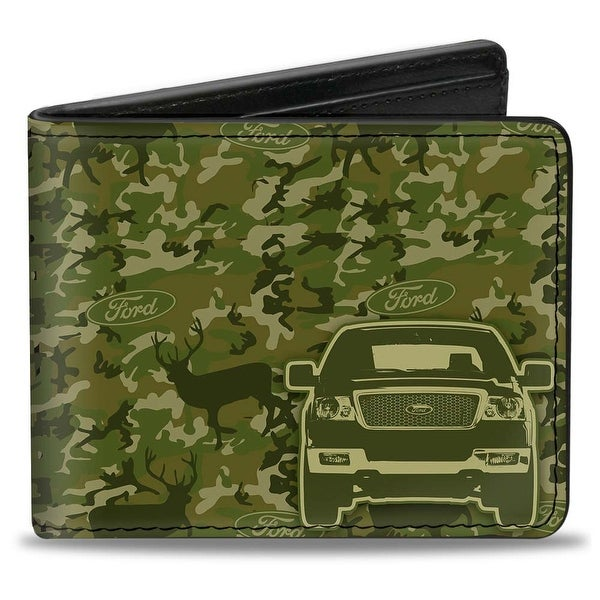 Ford Truck + Works Hard, Plays Harder. Deer Hunter Camo Olive Bi Fold Wallet - One Size Fits most
