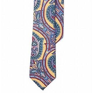 Lauren By Ralph Lauren NEW Yellow Blue Paisley Printed Mens Silk Necktie