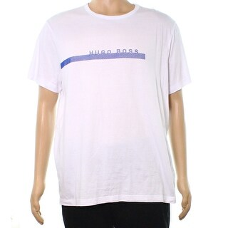 Hugo Boss NEW Bright White Mens Size 2XL Textured Graphic Tee T-Shirt