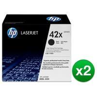 HP 42X High Yield Black Original LaserJet Toner Cartridges (Q5942X)(2-Pack)