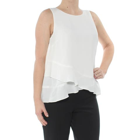 TAHARI Womens Ivory Ruffled Sleeveless Jewel Neck Wear To Work Top Size: S