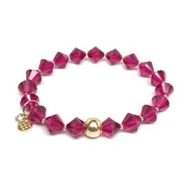 July Birthstone Color, Ruby Red 'Rachel' Stretch Bracelet, Swarovski Crystal 14k over Sterling Silver