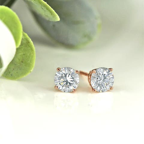 Auriya 14k Gold 1ctw Round Moissanite Stud Earrings - 5 mm