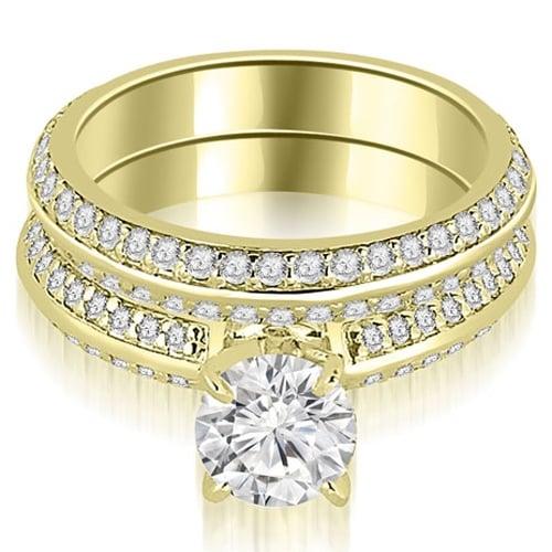 1.45 cttw. 14K Yellow Gold Knife Edge Matching Round Cut Diamond Bridal Set