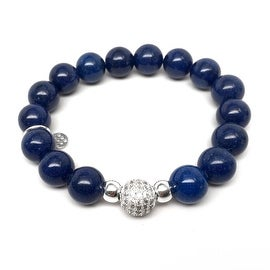Blue Jade 'Radiance' stretch bracelet 14k Over Sterling Silver
