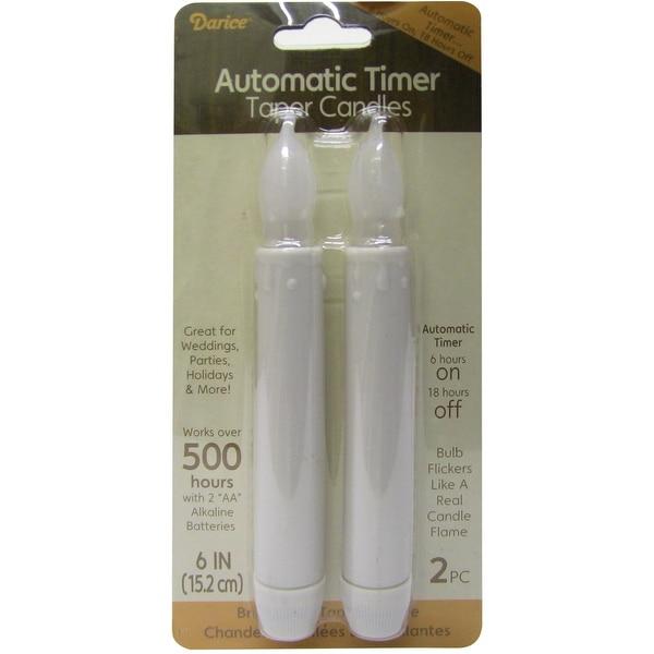 """LED Taper Candles W/Timer 6"""" 2/Pkg-White"""