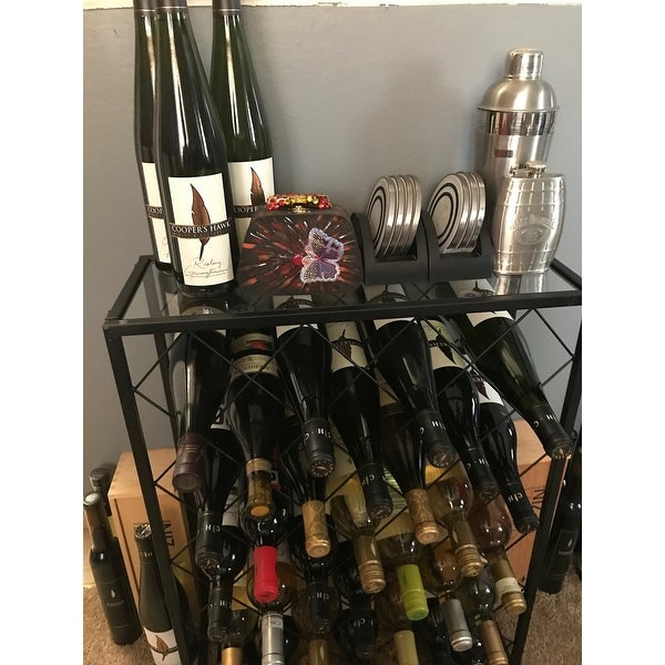 Delicieux Shop Gymax 32 Bottle Wine Rack Metal Storage Display Liquor Cabinet W/Glass  Table Top   Free Shipping Today   Overstock.com   22971627