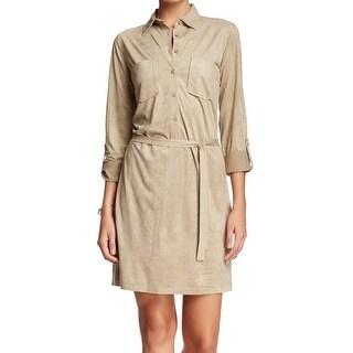 Max Studio NEW Beige Women Size Medium M Belted Faux Suede Shirt Dress