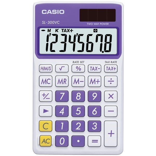 Casio Sl300Vcplsih Solar Wallet Calculator With 8-Digit Display (Purple)