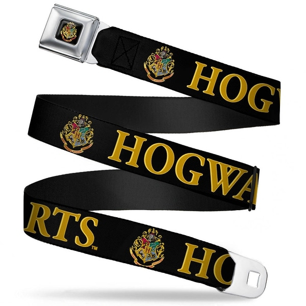 Hogwarts Crest Full Color Harry Potter Hogwarts & Crest Black Gold Webbing Seatbelt Belt