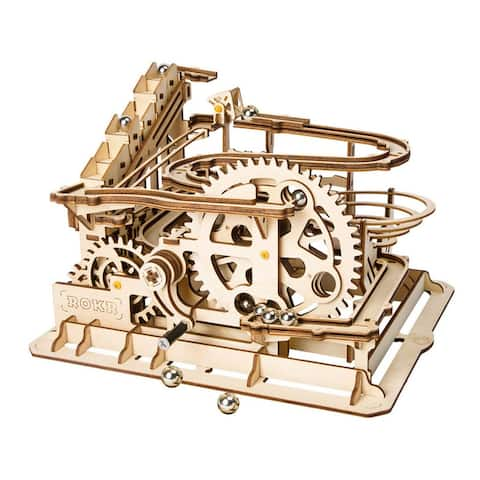 ROKR Marble Run Wooden Model Kits 3D Puzzle Mechanical Puzzles for Kids and Adults (Waterwheel Coaster)