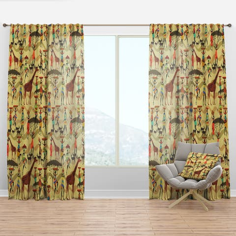 Designart 'Texture with African Women' Tropical Curtain Panel