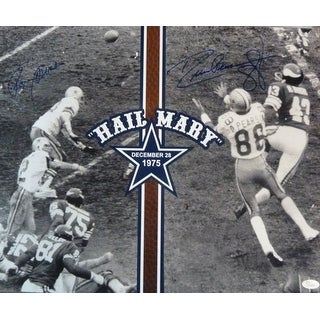 Roger Staubach  Drew Pearson Autographed Dallas Cowboys Hail Mary 16x20 Photo JSA
