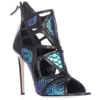 Alejandro Ingelmo Odyssey Caged Cutout Peep Toe Heels - Turquoise/Black