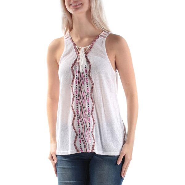 Shop SANCTUARY Womens White Embroidered Tie Sleeveless V Neck Tunic Top  Size  S - Free Shipping On Orders Over  45 - Overstock.com - 21351151