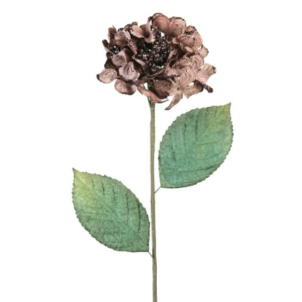 "Pack of 6 Taupe/Brown Velvet Hydrangea Artificial Christmas Floral Stems 26"" - brown"